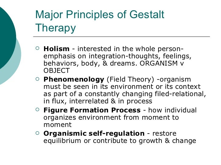 gestalt approach to psychotherapy A therapist speaks to a client gestalt therapy, developed by fritz perls, laura  perls, and paul goodman in the 1940s, is an experiential and.