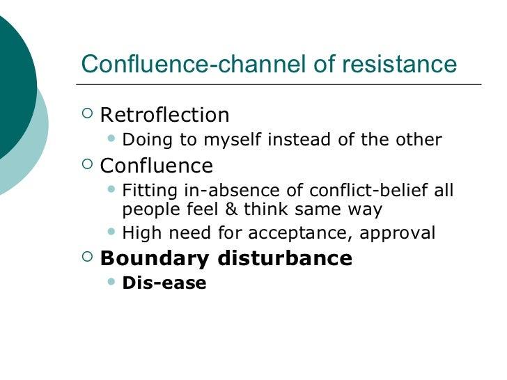 Confluence-channel of resistance <ul><li>Retroflection </li></ul><ul><ul><li>Doing to myself instead of the other </li></u...