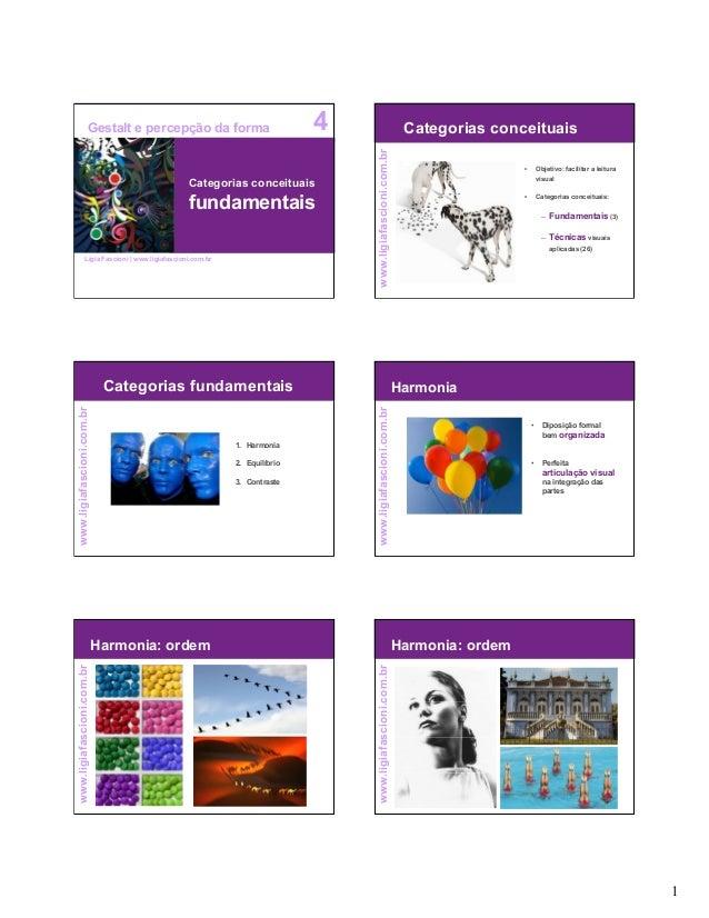 1 www.ligiafascioni.com.br Categorias conceituais fundamentais 4Gestalt e percepção da forma Lígia Fascioni   www.ligiafas...