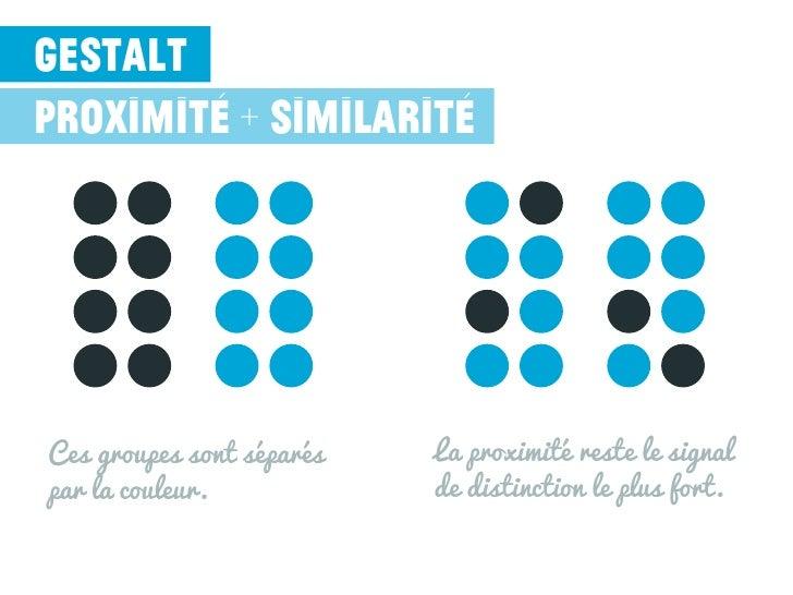 gestaltproximité + similaritéCes groupes sont séparés   La proximité reste le signalpar la couleur.            de distinct...