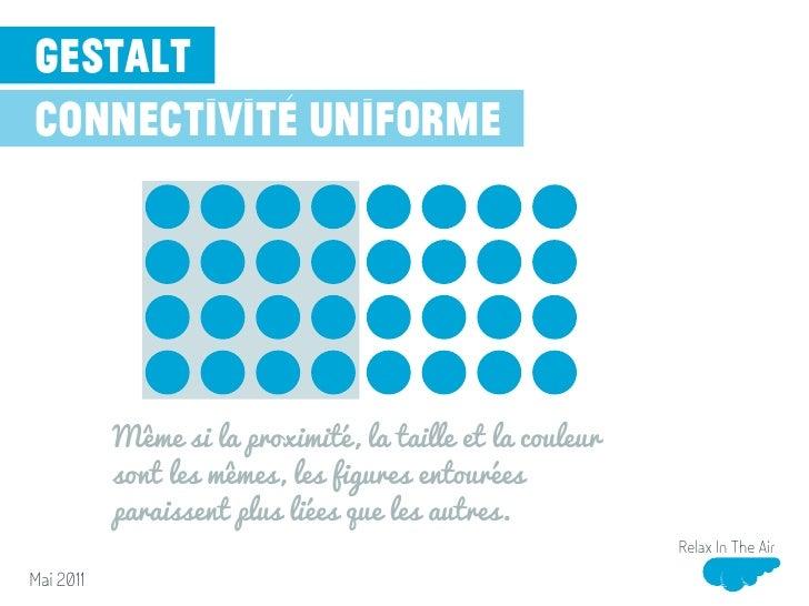 gestaltconnectivité uniforme           Même si la proximité, la taille et la couleur           sont les mêmes, les figures...