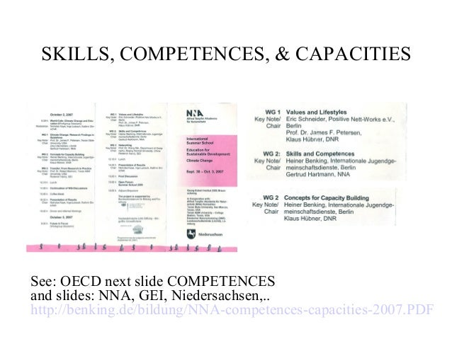 SKILLS, COMPETENCES, & CAPACITIES See: OECD next slide COMPETENCES and slides: NNA, GEI, Niedersachsen,.. http://benking.d...