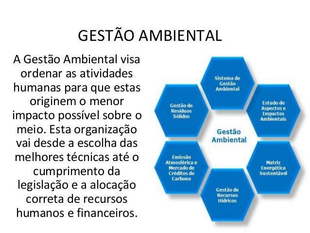 GESTÃO AMBIENTAL  A Gestão Ambiental visa  ordenar as atividades  humanas para que estas  originem o menor  impacto possív...