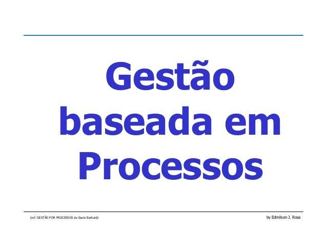 (ref. GESTÃO POR PROCESSOS de Saulo Barbará) by Edmilson J. Rosa Gestão baseada em Processos