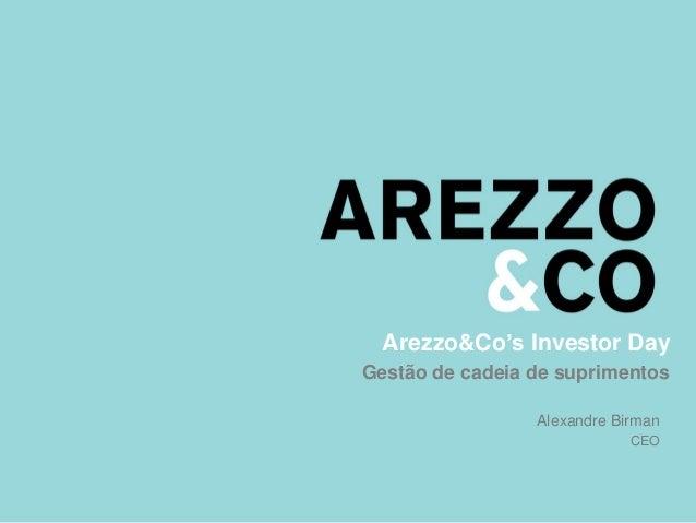 Arezzo&Co's Investor Day Gestão de cadeia de suprimentos Alexandre Birman CEO
