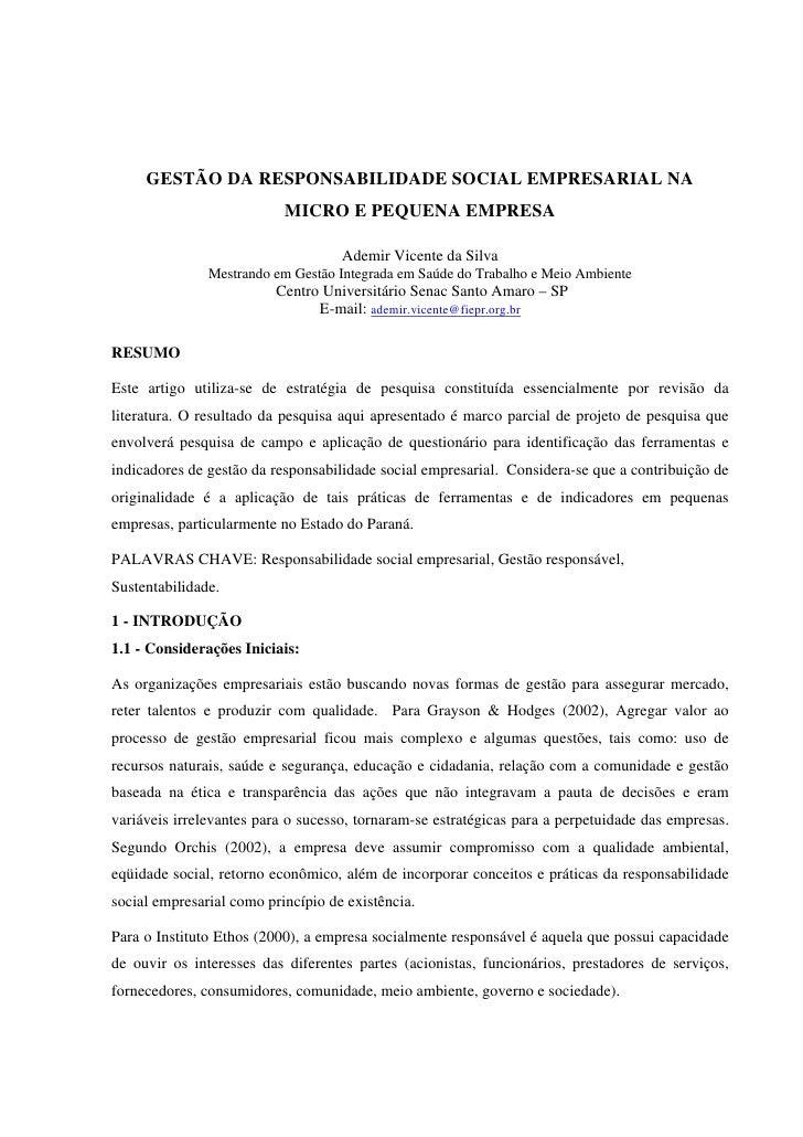 GESTÃO DA RESPONSABILIDADE SOCIAL EMPRESARIAL NA                           MICRO E PEQUENA EMPRESA                        ...