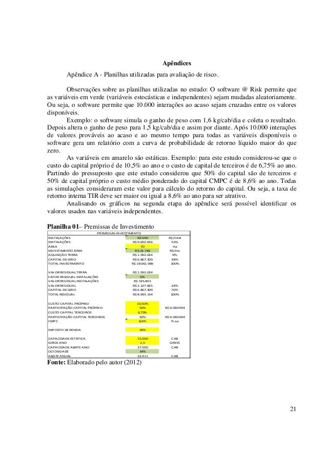 Apêndices         Apêndice A - Planilhas utilizadas para avaliação de risco.        Observações sobre as planilhas utiliza...