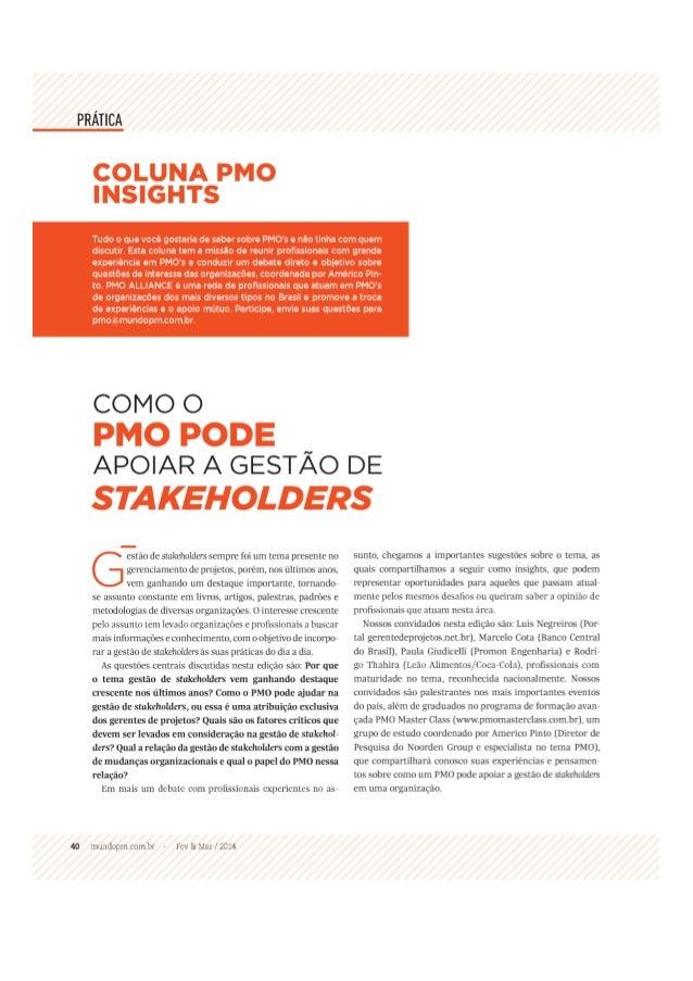PMO Insights - PMO e a Gestão de Stakeholders