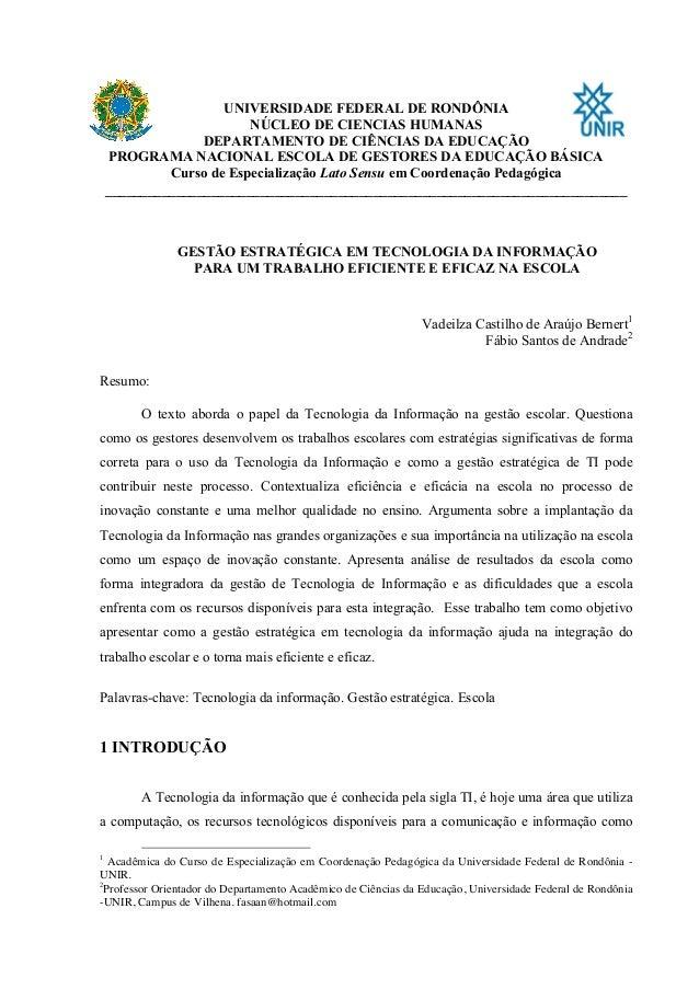 UNIVERSIDADE FEDERAL DE RONDÔNIA NÚCLEO DE CIENCIAS HUMANAS DEPARTAMENTO DE CIÊNCIAS DA EDUCAÇÃO PROGRAMA NACIONAL ESCOLA ...