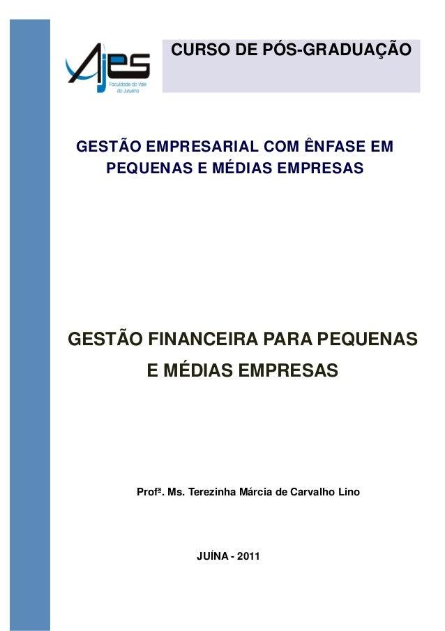CURSO DE PÓS-GRADUAÇÃO GESTÃO EMPRESARIAL COM ÊNFASE EM PEQUENAS E MÉDIAS EMPRESAS GESTÃO FINANCEIRA PARA PEQUENAS E MÉDIA...