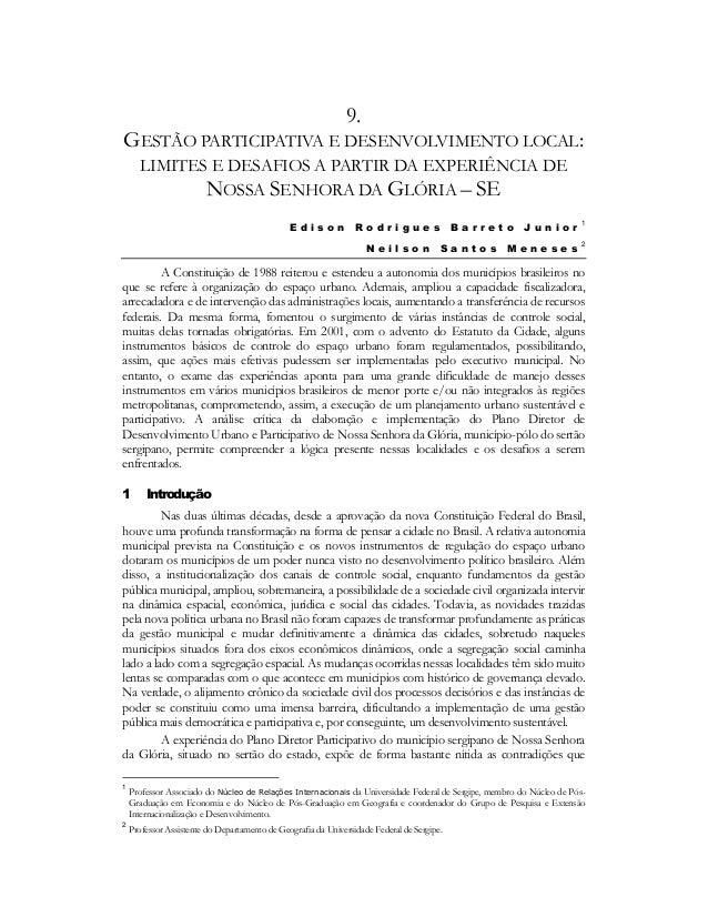 9. GESTÃO PARTICIPATIVA E DESENVOLVIMENTO LOCAL: LIMITES E DESAFIOS A PARTIR DA EXPERIÊNCIA DE NOSSA SENHORA DA GLÓRIA – S...