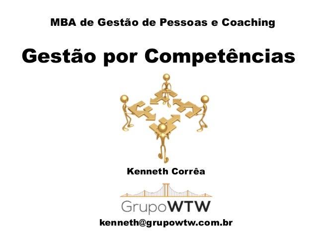 MBA de Gestão de Pessoas e Coaching Gestão por Competências Kenneth Corrêa ! ! ! kenneth@grupowtw.com.br
