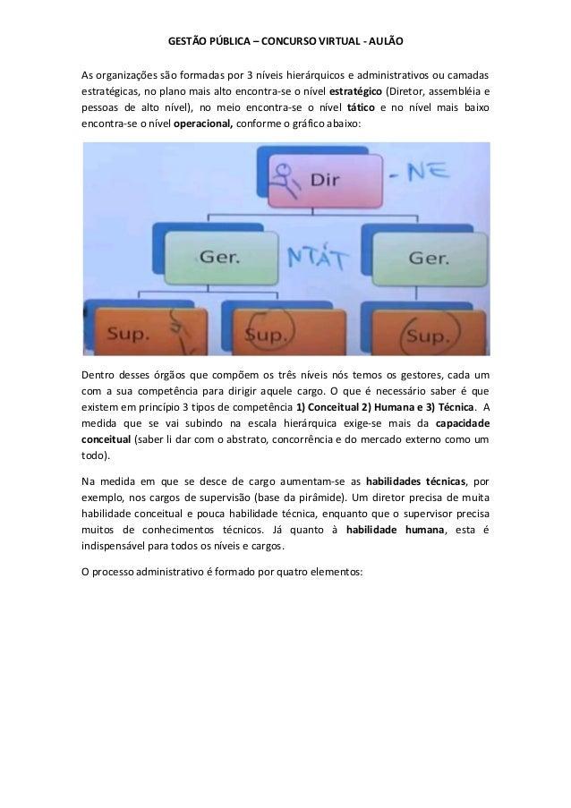 GESTÃO PÚBLICA – CONCURSO VIRTUAL - AULÃO As organizações são formadas por 3 níveis hierárquicos e administrativos ou cama...