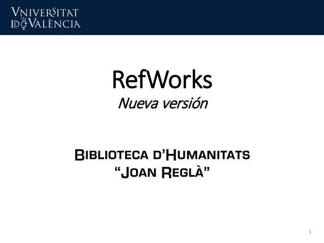 RefWorks Nueva versión 1