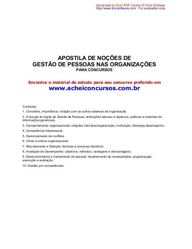APOSTILA DE NOÇÕES DEGESTÃO DE PESSOAS NAS ORGANIZAÇÕESPARA CONCURSOSEncontre o material de estudo para seu concurso prefe...