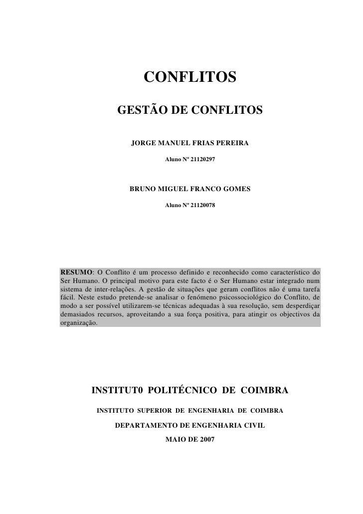 CONFLITOS                    GESTÃO DE CONFLITOS                         JORGE MANUEL FRIAS PEREIRA                       ...