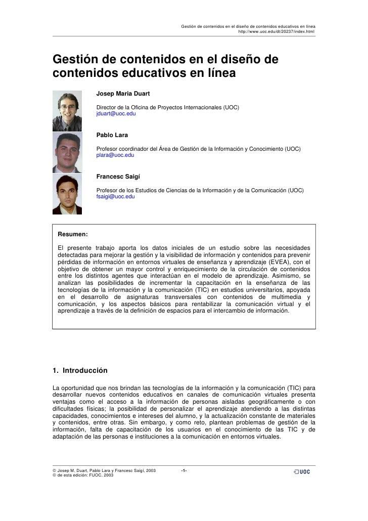Gestión de contenidos en el diseño de contenidos educativos en línea                                                      ...