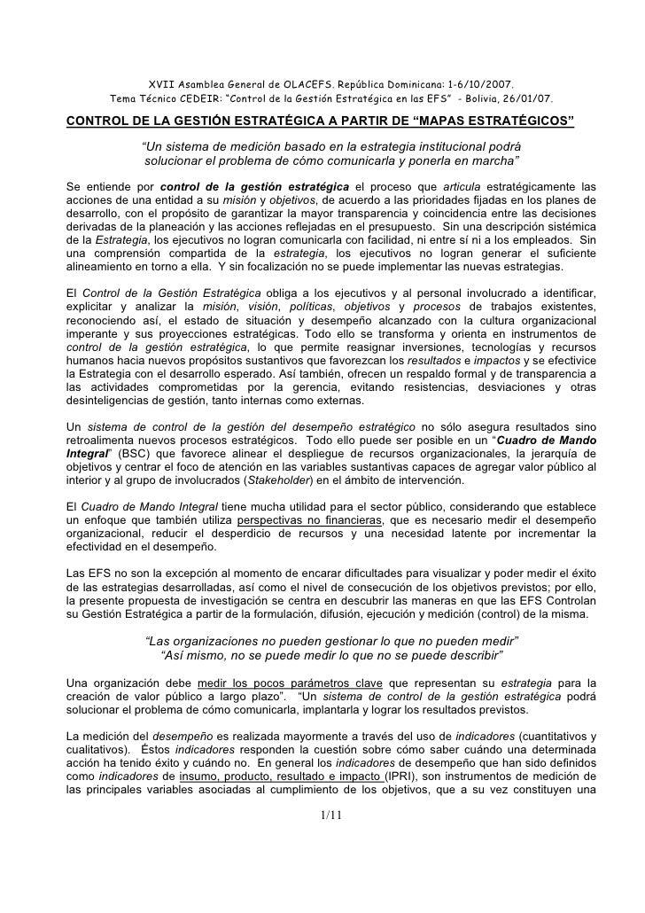 "XVII Asamblea General de OLACEFS. República Dominicana: 1-6/10/2007.         Tema Técnico CEDEIR: ""Control de la Gestión E..."