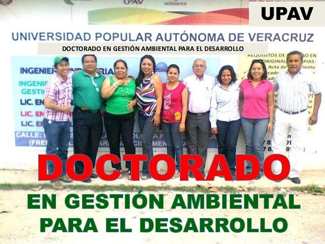 DOCTORADO EN GESTIÓN AMBIENTAL PARA EL DESARROLLO UPAV