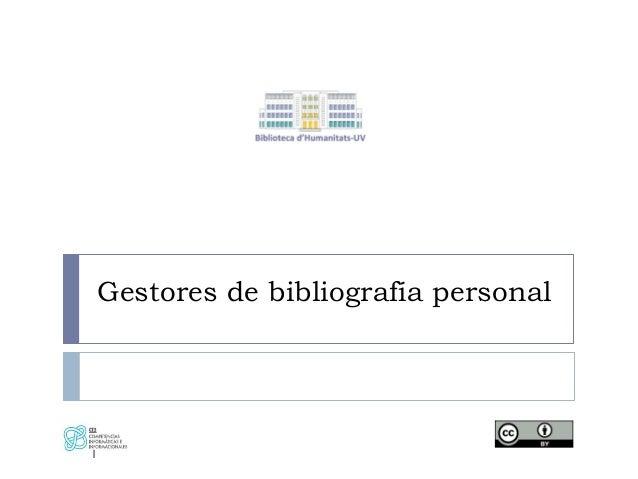Gestores de bibliografía personal 1