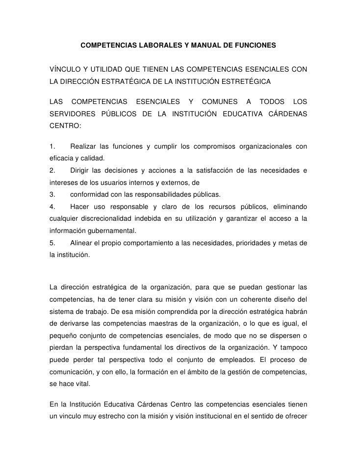 COMPETENCIAS LABORALES Y MANUAL DE FUNCIONES<br />VÍNCULO Y UTILIDAD QUE TIENEN LAS COMPETENCIAS ESENCIALES CON LA DIRECCI...