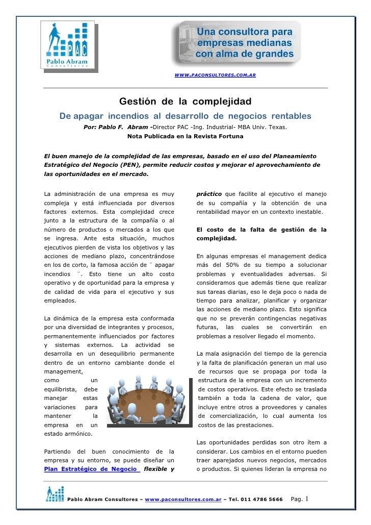 WWW.PACONSULTORES.COM.AR                                  Gestión de la complejidad       De apagar incendios al desarroll...