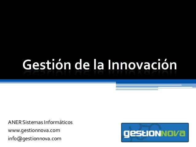 ANER Sistemas Informáticos www.gestionnova.com info@gestionnova.com