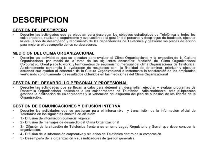 DESCRIPCION <ul><li>GESTION DEL DESEMPEÑO </li></ul><ul><li>Describe las actividades que se ejecutan para desplegar los ob...