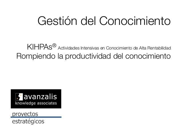 Gestión del Conocimiento! KIHPAs® Actividades Intensivas en Conocimiento de Alta Rentabilidad ! Rompiendo la productividad...