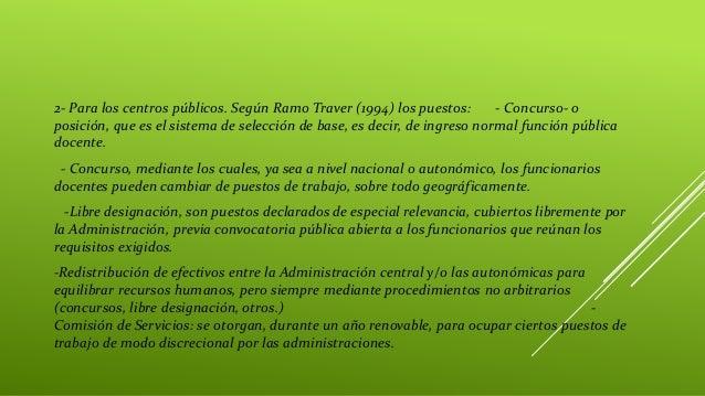 2- Para los centros públicos. Según Ramo Traver (1994) los puestos: - Concurso- o posición, que es el sistema de selección...