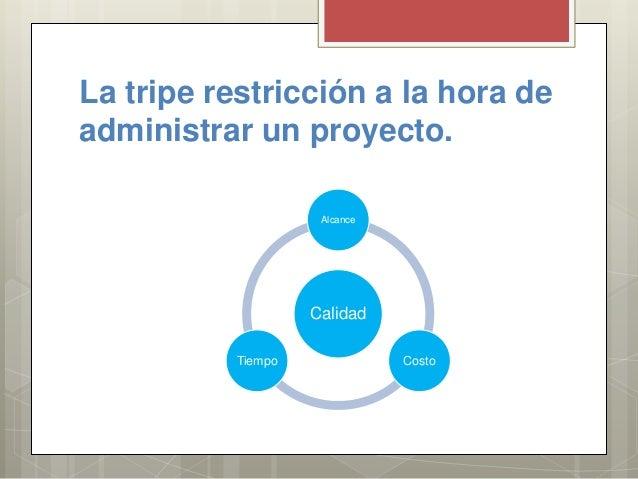 La tripe restricción a la hora de administrar un proyecto. Calidad Alcance CostoTiempo