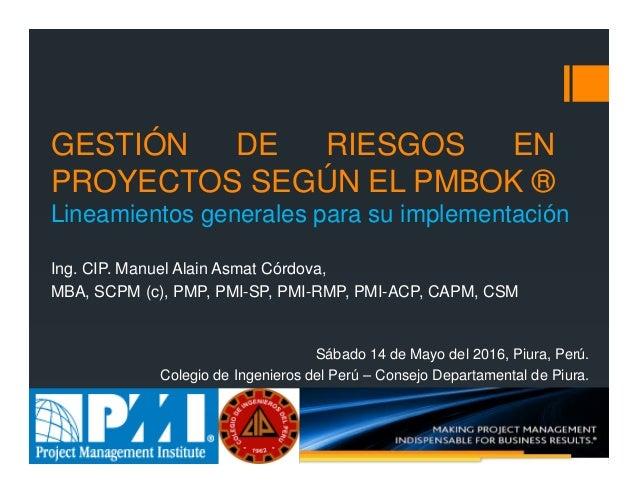 f8bb7c3326 Gestión de Riesgos en Proyectos según el PMBOK  Lineamientos Generale…