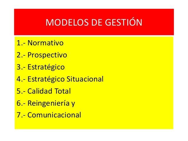 MODELOS DE GESTIÓN 1.- Normativo 2.- Prospectivo 3.- Estratégico 4.- Estratégico Situacional 5.- Calidad Total 6.- Reingen...