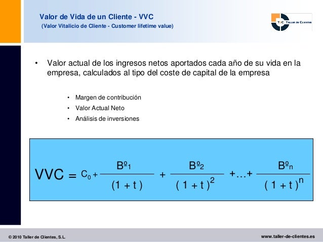 Valor de Vida de un Cliente - VVC                  (Valor Vitalicio de Cliente - Customer lifetime value)              •  ...