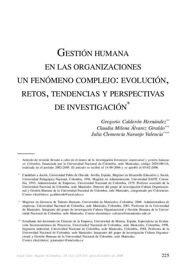 GESTIÓN HUMANA EN LAS ORGANIZACIONES UN FENÓMENO COMPLEJO: EVOLUCIÓN, RETOS, TENDENCIAS Y PERSPECTIVAS DE INVESTIGACIÓN   ...
