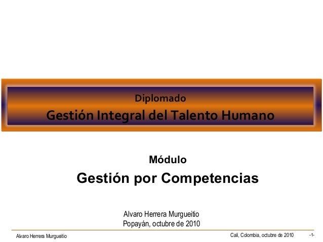 Alvaro Herrera Murgueitio Cali, Colombia, octubre de 2010 -1- Diplomado Gestión Integral del Talento Humano Diplomado Gest...