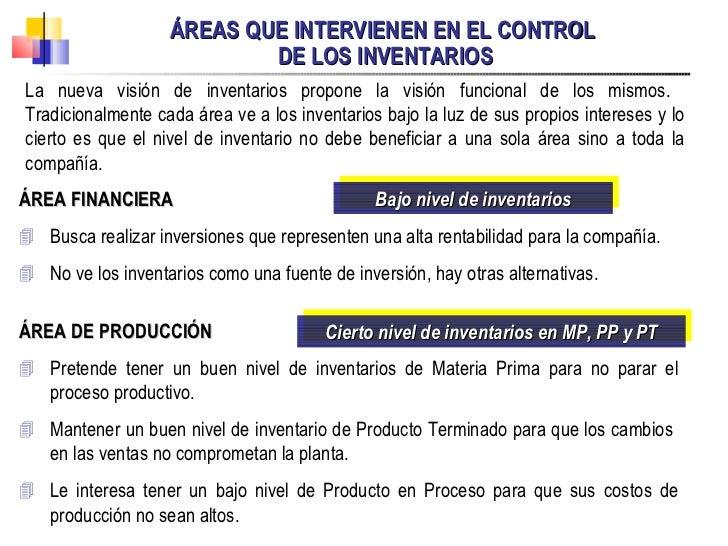 ÁREAS QUE INTERVIENEN EN EL CONTROL  DE LOS INVENTARIOS La nueva visión de inventarios propone la visión funcional de los ...
