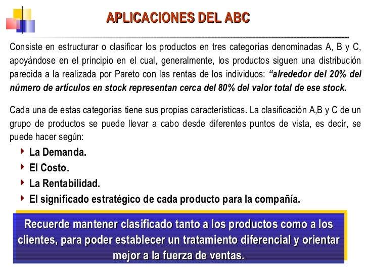 APLICACIONES DEL ABC <ul><li>Consiste en estructurar o clasificar los productos en tres categorías denominadas A, B y C, a...