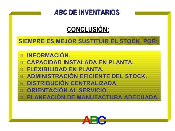 ABC  DE   INVENTARIOS   CONCLUSIÓN : A B C <ul><li>INFORMACIÓN. </li></ul><ul><li>CAPACIDAD INSTALADA EN PLANTA. </li></ul...