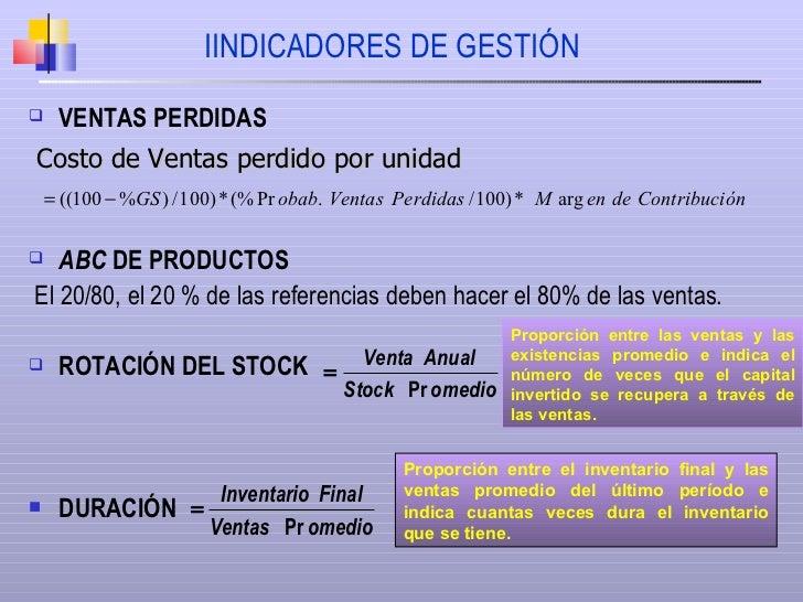 IINDICADORES DE GESTIÓN <ul><li>VENTAS PERDIDAS </li></ul><ul><li>ABC  DE PRODUCTOS </li></ul><ul><li>El 20/80, el 20 % de...