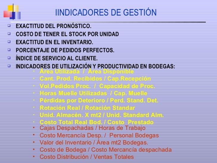 IINDICADORES DE GESTIÓN <ul><li>EXACTITUD DEL PRONÓSTICO. </li></ul><ul><li>COSTO DE TENER EL STOCK POR UNIDAD </li></ul><...