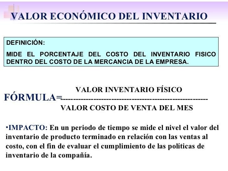 DEFINICIÓN: MIDE EL PORCENTAJE DEL COSTO DEL INVENTARIO FISICO DENTRO DEL COSTO DE LA MERCANCIA DE LA EMPRESA. FÓRMULA= <u...
