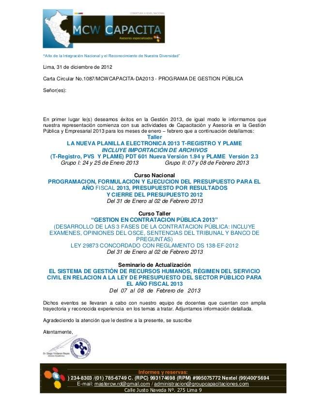 """RUC: 20545272173""""Año de la Integración Nacional y el Reconocimiento de Nuestra Diversidad""""Lima, 31 de diciembre de 2012Car..."""