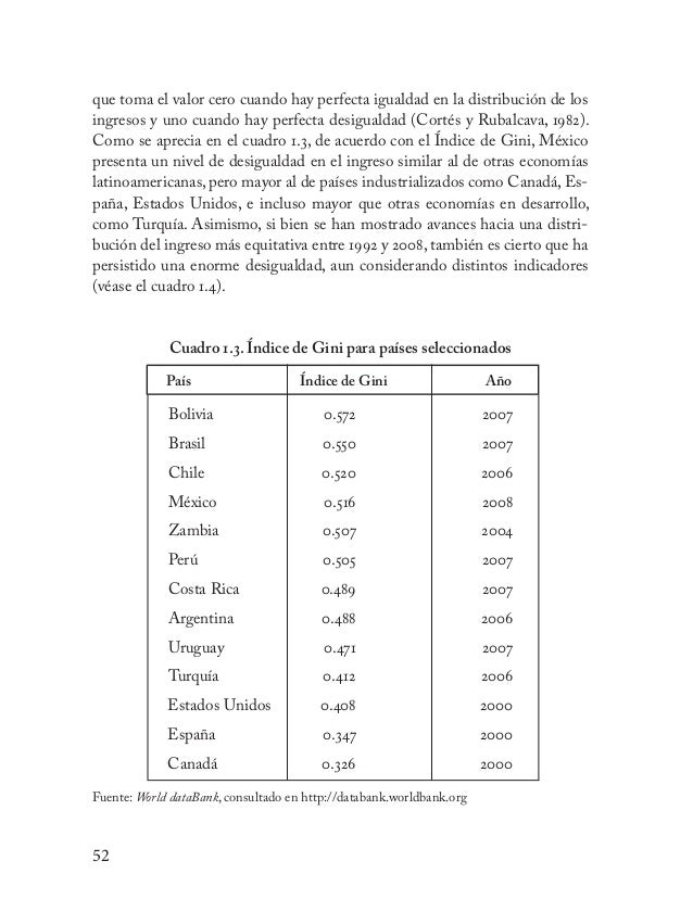53 Los elevados niveles de desigualdad en nuestro país tienen implicacio- nes importantes en su desarrollo, pues limitan e...