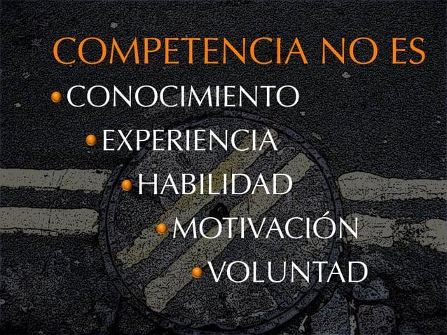 COMPETENCIA NO ESCONOCIMIENTO  EXPERIENCIA    HABILIDAD      MOTIVACIÓN         VOLUNTAD