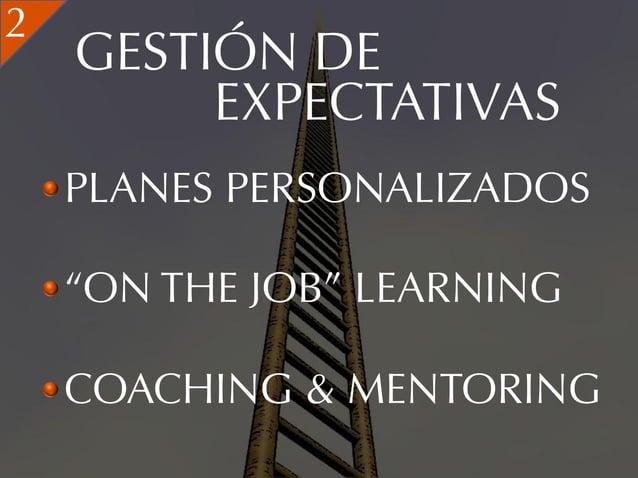 """2    GESTIÓN DE         EXPECTATIVAS    PLANES PERSONALIZADOS    """"ON THE JOB"""" LEARNING    COACHING & MENTORING"""