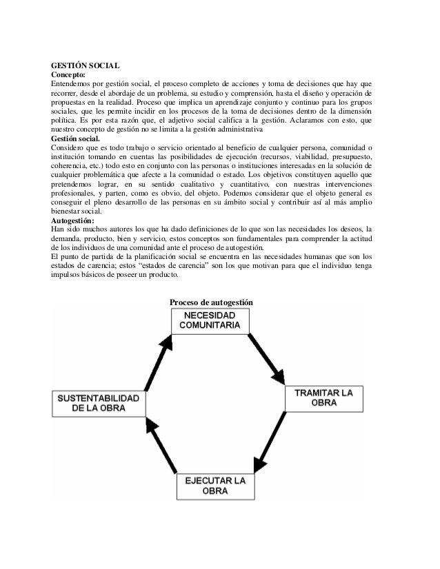 GESTIÓN SOCIALConcepto:Entendemos por gestión social, el proceso completo de acciones y toma de decisiones que hay quereco...
