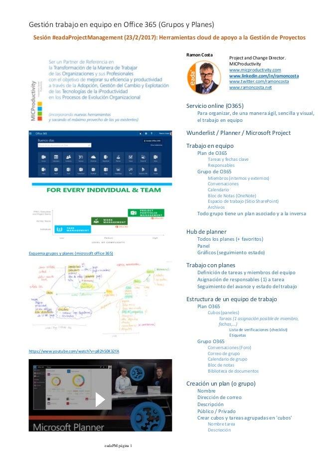 Esquema grupos y planes (microsoft office 365) https://www.youtube.com/watch?v=p82hS0K32fA Ramon Costa Para organizar, de ...