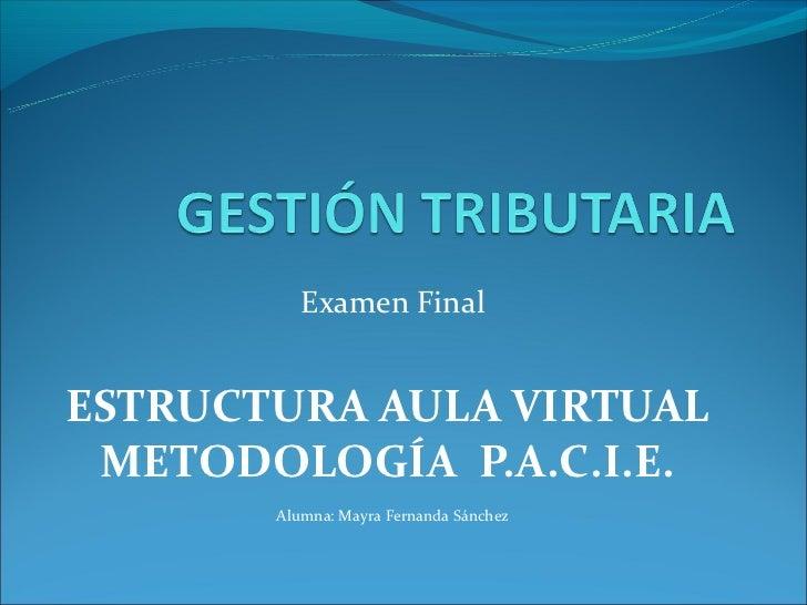 Examen FinalESTRUCTURA AULA VIRTUAL METODOLOGÍA P.A.C.I.E.       Alumna: Mayra Fernanda Sánchez