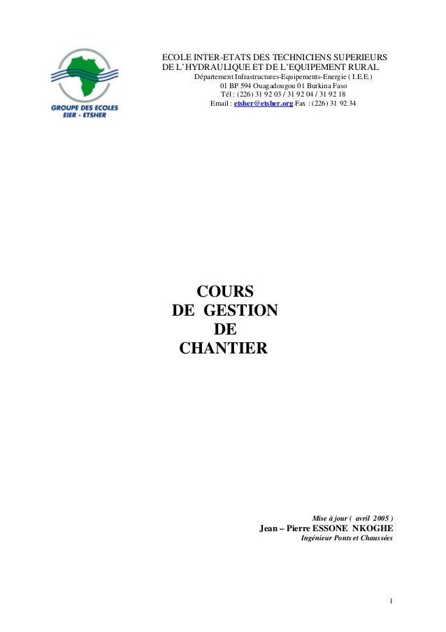 ECOLE INTER-ETATS DES TECHNICIENS SUPERIEURS DE L'HYDRAULIQUE ET DE L'EQUIPEMENT RURAL Département Infrastructures-Equipem...